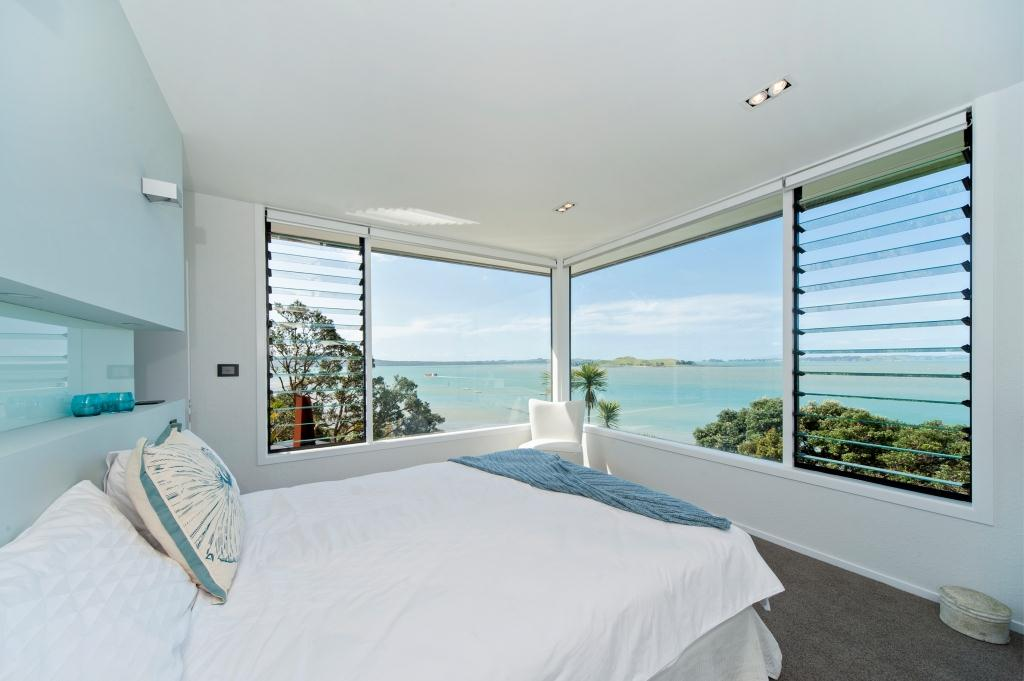 Inside View using Breezway louvres to look out onto Karaka Bay