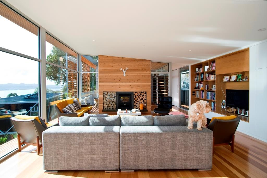 Modern home showcasing timber to add warmth in cold climate