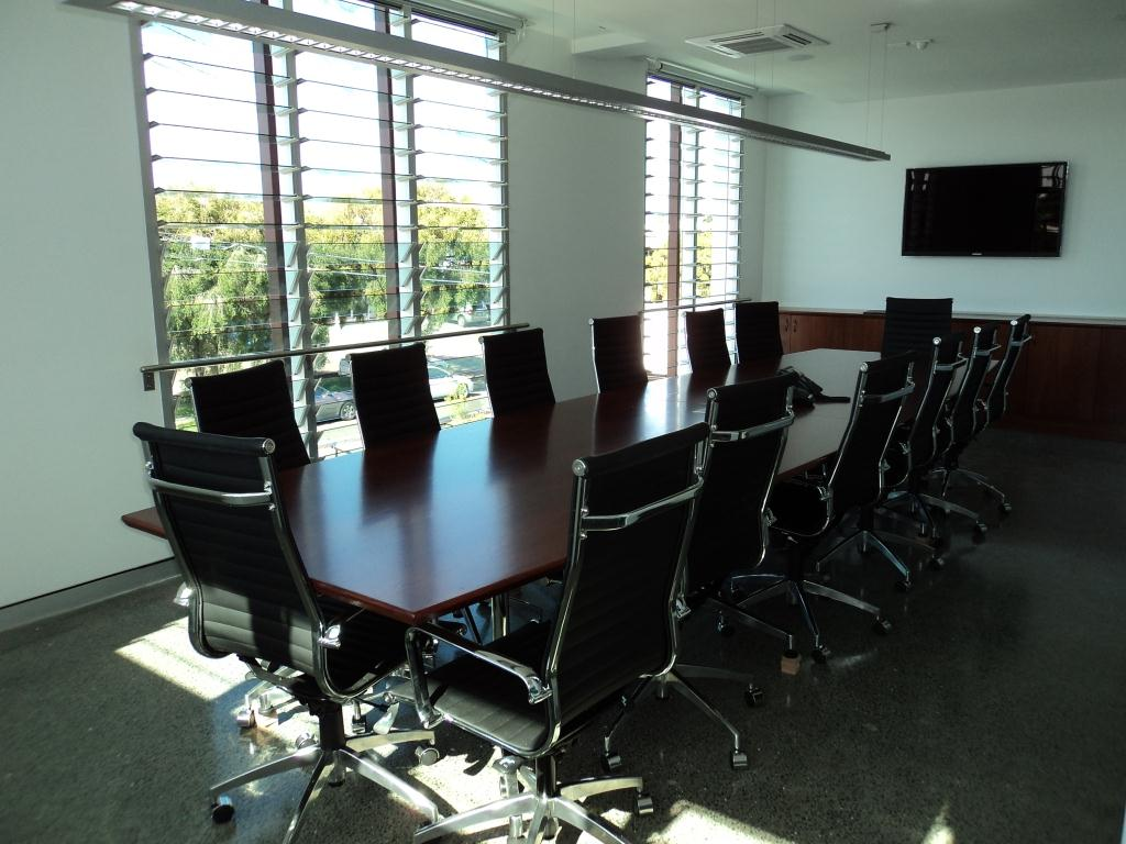 Breezway louvre windows in the boardroom provide views to the outside world