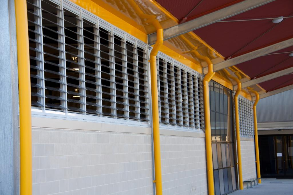 Close up of the exterior of louvre windows installed in school block