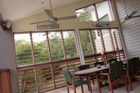 Altair Louvre Windows on this balcony give an outdoor feel with privacy and weatherproofing.