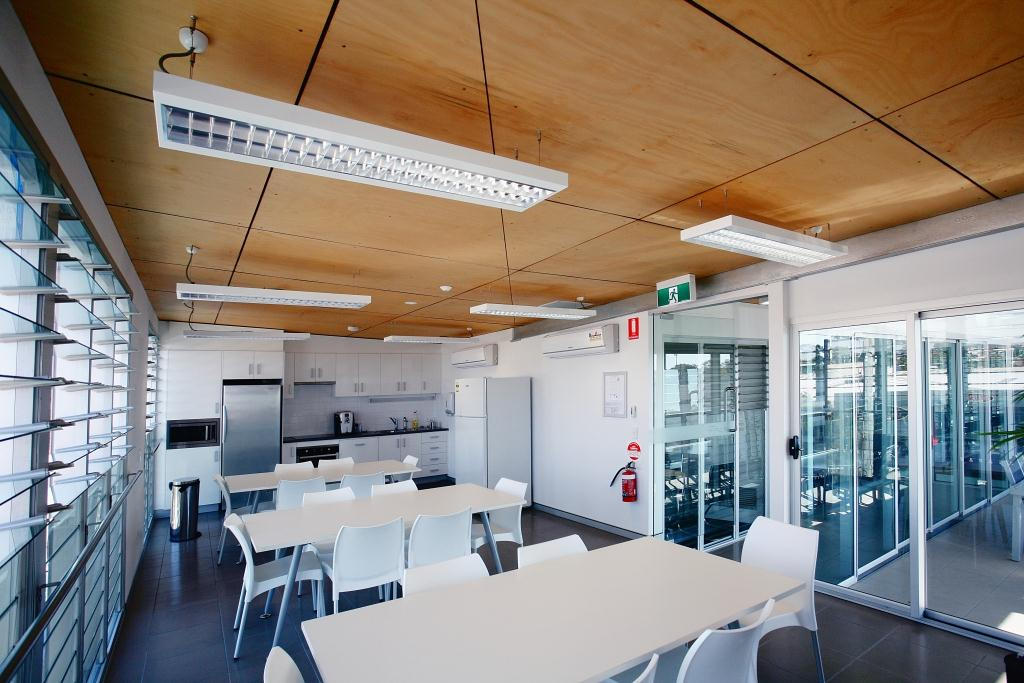 Altair Louvre Windows in the kitchen keep occupants feeling fresh while enjoying their breaks