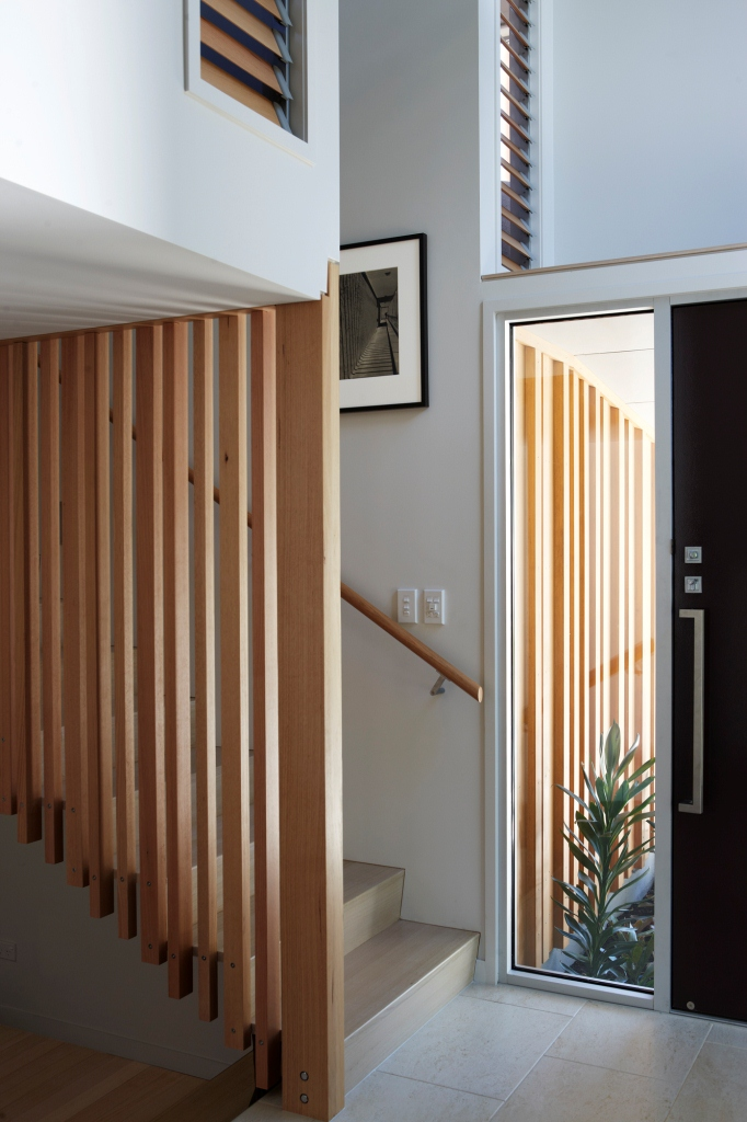 Breezway Louvres in the front entrance using timber blades for privacy