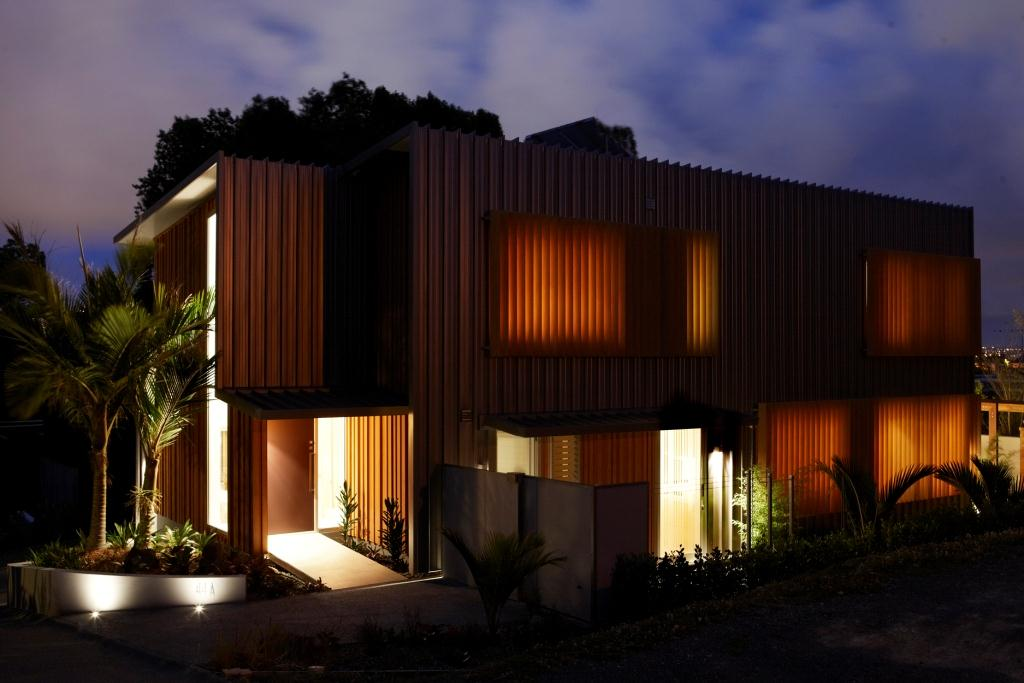Exterior of house at night using Breezway louvre windows