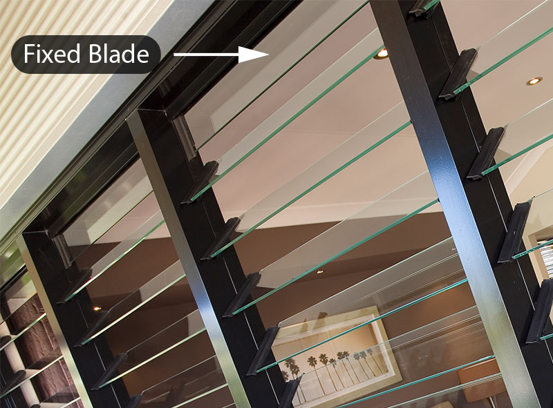 Breezway Altair Louvre Window showing fixed extension blade when off standard louvre heights are used
