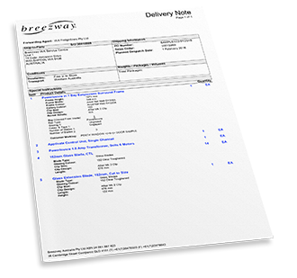 Breezway Sample Delivery Note